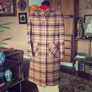 Vintage Pendleton virgin wool plaid car coat long